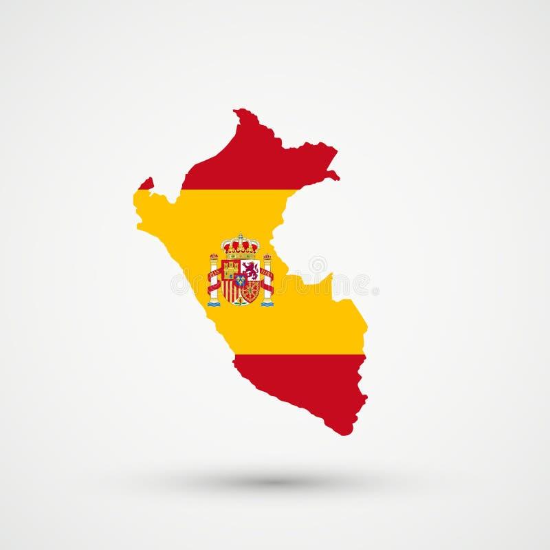 Mappa nei colori della bandiera della Spagna, vettore editabile del Perù royalty illustrazione gratis
