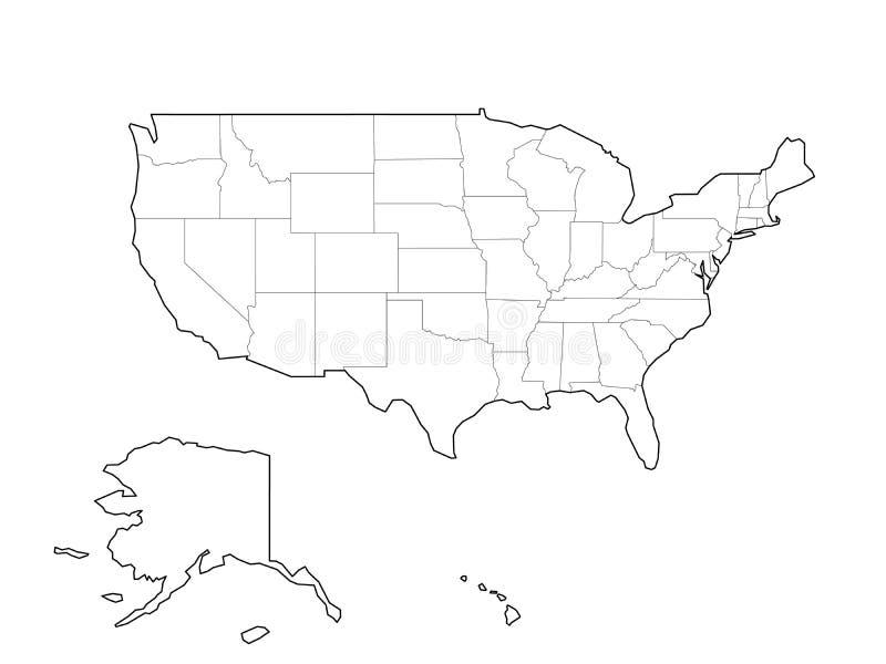 Mappa nera in bianco di U.S.A., Stati Uniti d'America del profilo di vettore illustrazione vettoriale