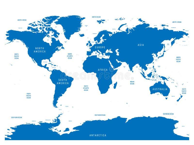 Mappa oceanografica del mondo con le etichette dell'oceano illustrazione vettoriale
