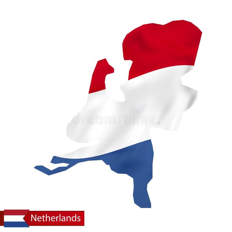 Mappa olandese con la bandiera d'ondeggiamento dei Paesi Bassi illustrazione di stock