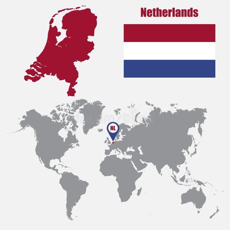 Mappa olandese su una mappa di mondo con il puntatore della mappa e della bandiera Illustrazione di vettore royalty illustrazione gratis