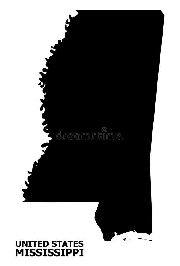 Mappa piana di vettore dello stato del Mississippi con il nome royalty illustrazione gratis