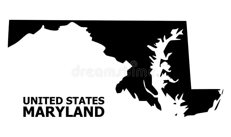 Mappa piana di vettore dello stato di Maryland con il titolo illustrazione di stock