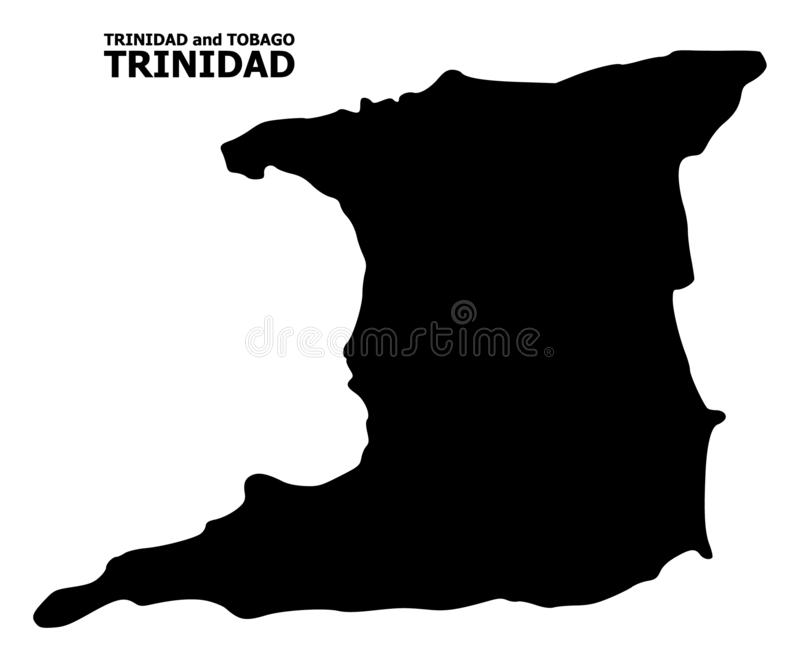 Mappa piana di vettore di Trinidad Island con il titolo illustrazione vettoriale