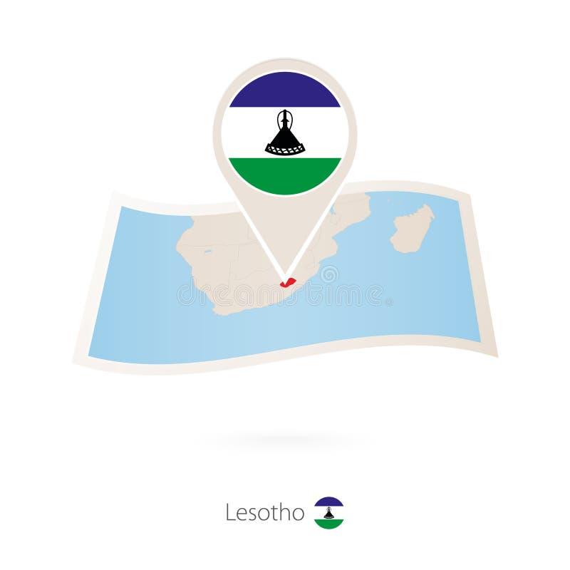 Mappa piegata della carta del Lesotho con il perno della bandiera del Lesotho royalty illustrazione gratis