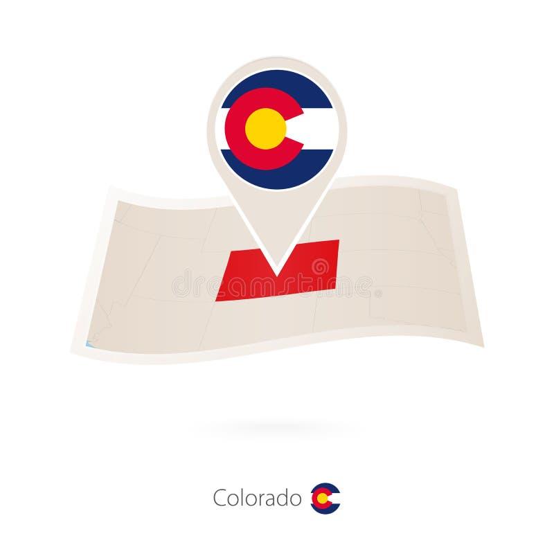 Mappa piegata della carta di Colorado U S Stato con il perno della bandiera di Colorado illustrazione vettoriale