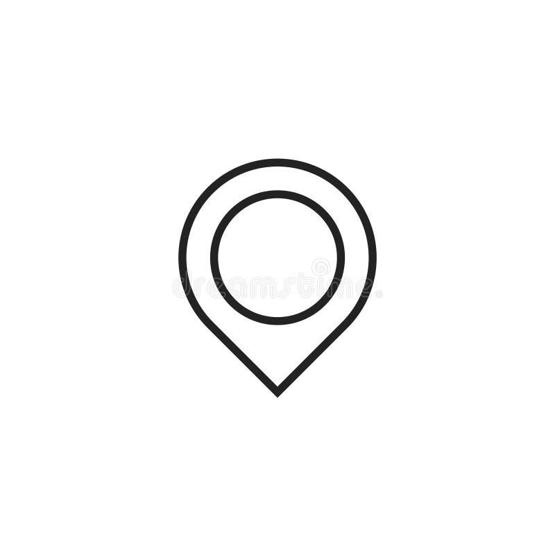 Mappa Pin Oultine Vector Icon, simbolo o logo illustrazione vettoriale