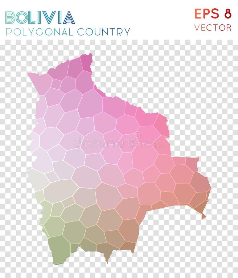Mappa poligonale della Bolivia, paese di stile del mosaico illustrazione di stock