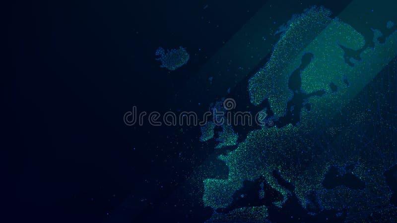 Mappa poligonale di Europa con le particelle luminose, fondo futuristico di vettore di tecnologia royalty illustrazione gratis