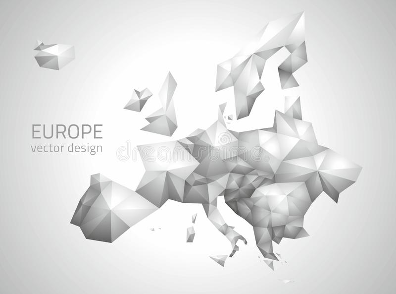 Mappa poligonale grigia di vettore di Europa illustrazione vettoriale
