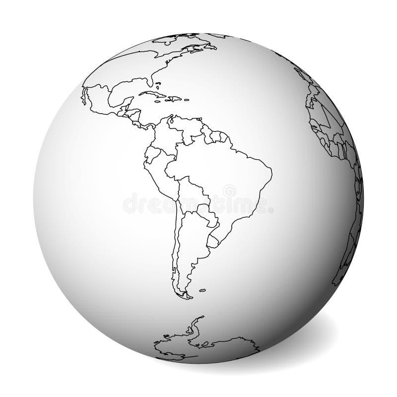 Mappa politica in bianco del Sudamerica globo della terra 3D con la mappa nera del profilo Illustrazione di vettore illustrazione di stock