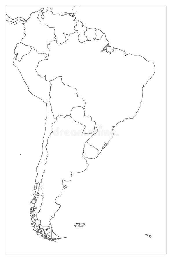 Mappa politica in bianco del Sudamerica Mappa piana semplice del profilo di vettore illustrazione vettoriale