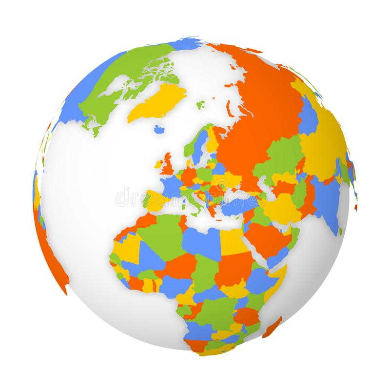 Mappa politica in bianco di Europa globo della terra 3D con la mappa colorata Illustrazione di vettore illustrazione di stock