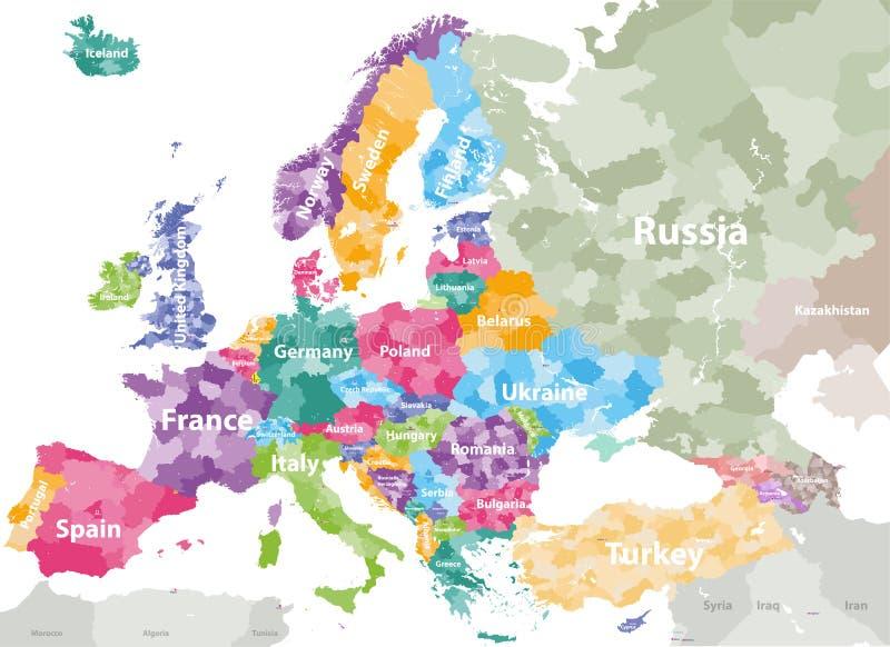 Cartina Europa Colorata.Mappa Di Europa Colorata Per Paesi Con I Confini Di Regioni