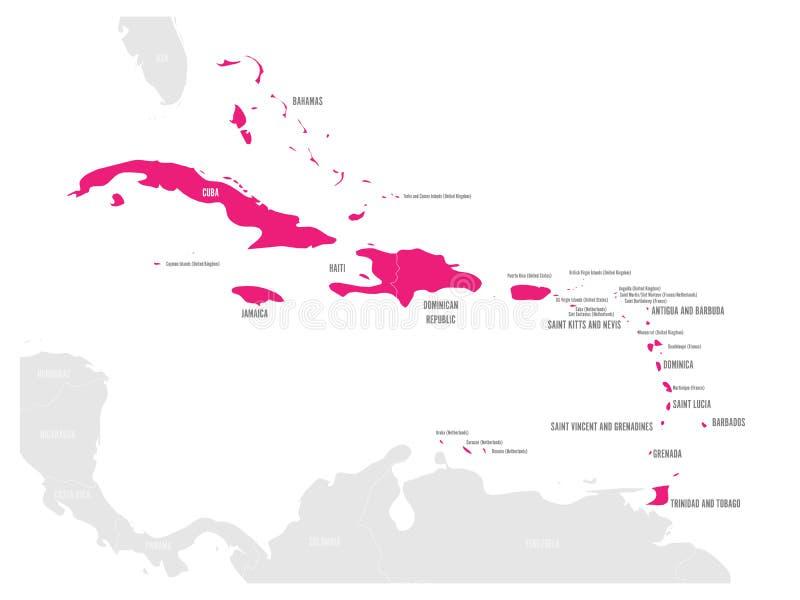 Mappa politica dei Caraibi Stati e territori del dipendente evidenziati rosa Illustrazione piana semplice di vettore illustrazione vettoriale