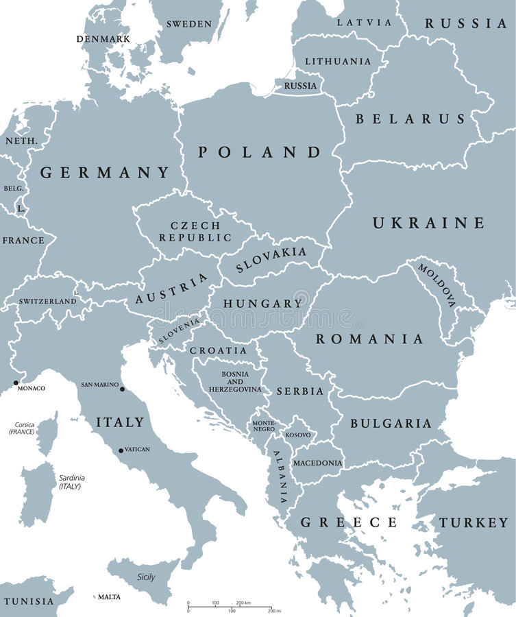 Mappa politica dei paesi dell'Europa centrale royalty illustrazione gratis