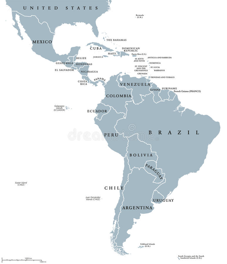 Mappa politica dei paesi di America Latina illustrazione di stock