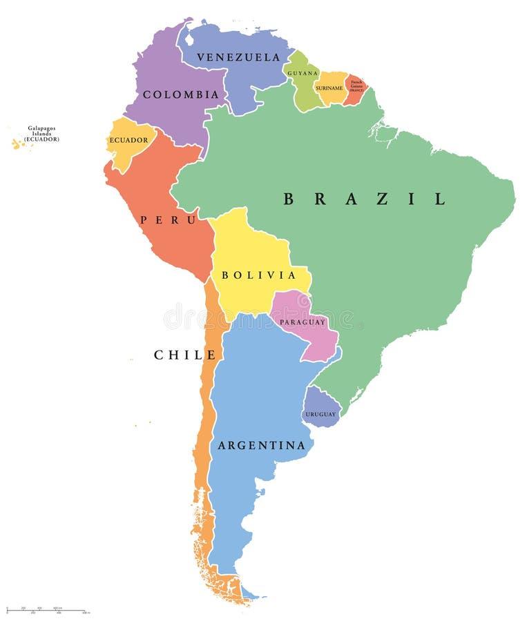 Mappa politica dei singoli stati del Sudamerica illustrazione vettoriale