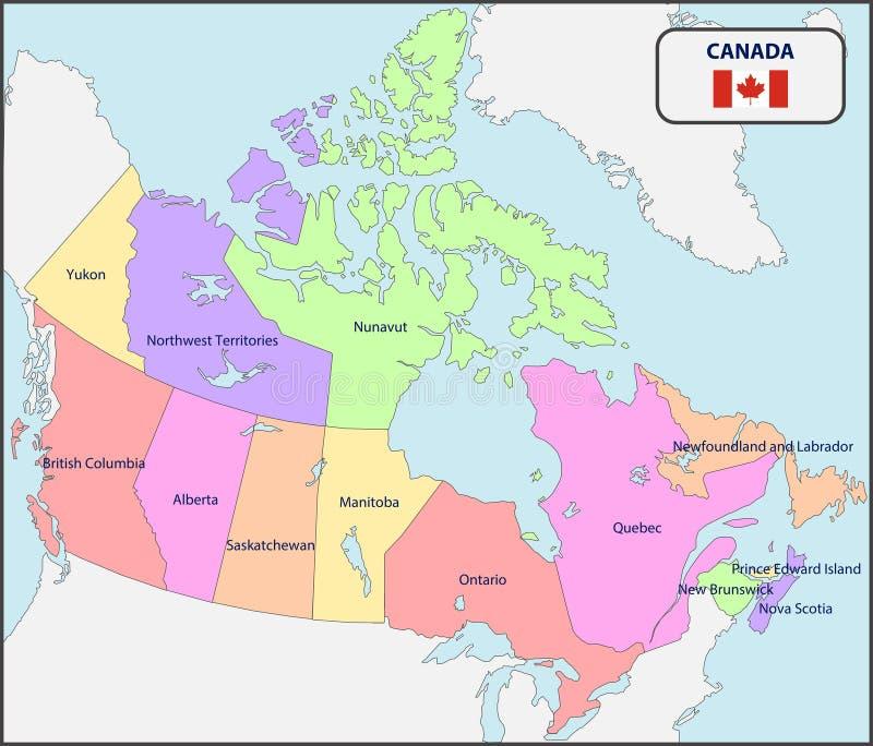 Cartina Canada Politica.Illustrazione Di Una Mappa Amministrativa E Politica Del