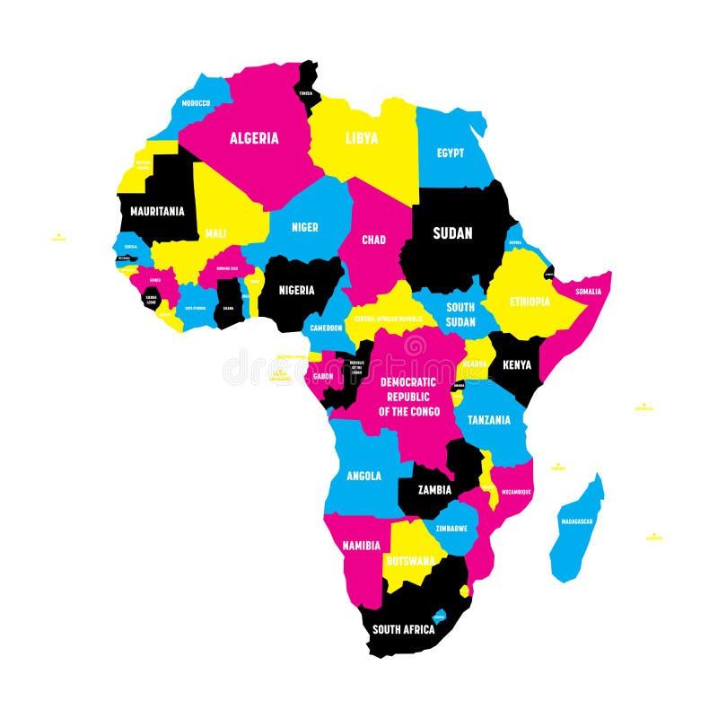 Mappa politica del continente dell'Africa nei colori di CMYK con le frontiere e nelle etichette di nome di paese su fondo bianco illustrazione di stock