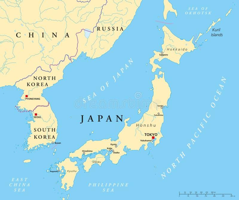 Mappa politica del Giappone, della Corea del Nord e della Corea del Sud illustrazione vettoriale