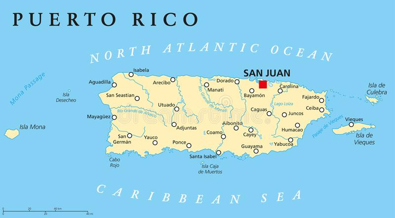 Mappa politica del Porto Rico illustrazione di stock