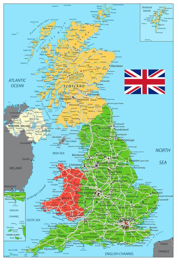 Cartina Geografica Fisica Della Gran Bretagna.Colori Della Mappa Fisica Del Regno Unito Retro Illustrazione Vettoriale Illustrazione Di Britain Oceano 99398962