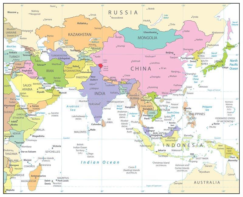 Asia Politica Cartina.Colore Del Nero Della Mappa Dell Asia Meridionale E