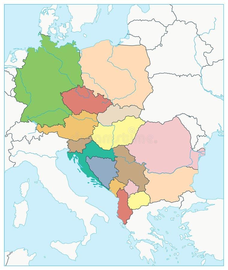 Europa Centrale Cartina Politica.Mappa Politica Dell Europa Centrale Illustrazione Vettoriale