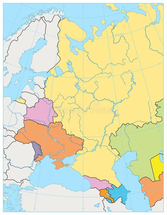 Mappa politica dell'Europa Orientale NESSUN testo royalty illustrazione gratis