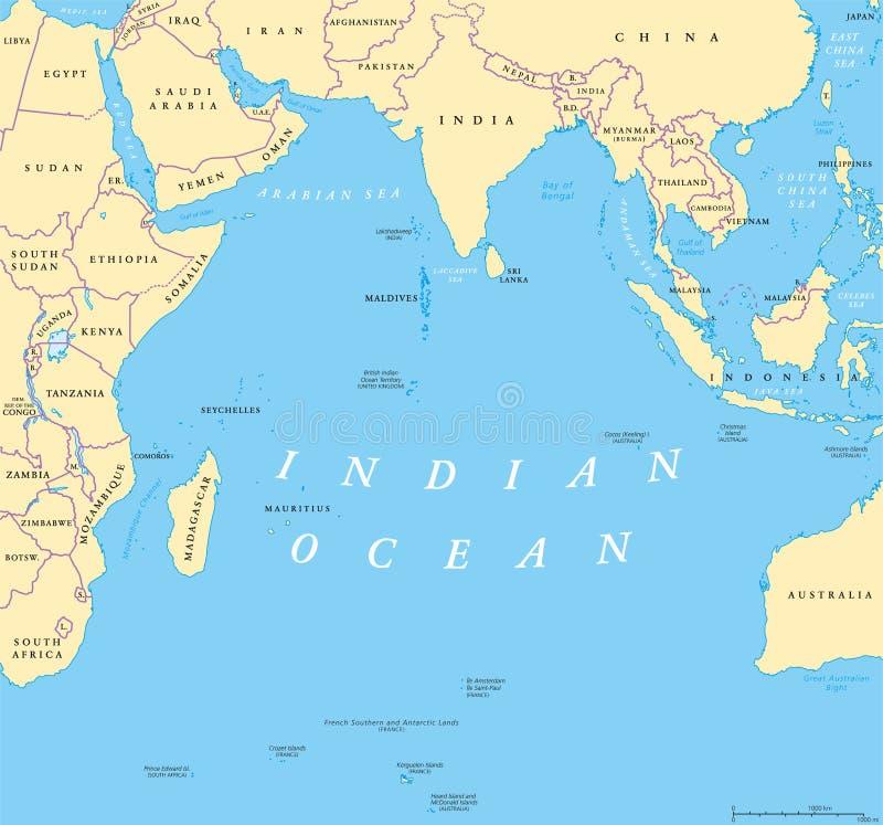 Mappa politica dell'Oceano Indiano illustrazione vettoriale
