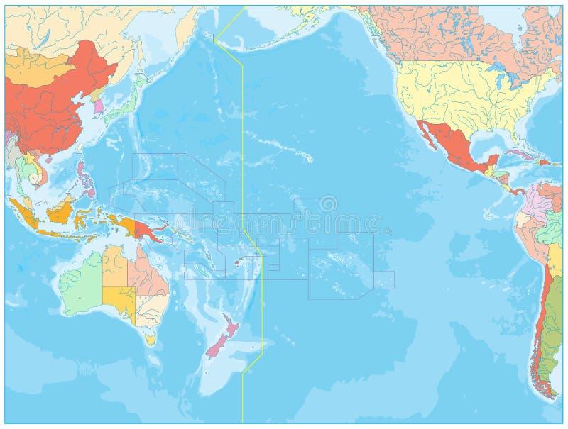 Cartina Oceano Pacifico.Mappa Politica E Batimetria Dell Oceano Pacifico Illustrazione Vettoriale Illustrazione Di Posizioni Paese 163501223