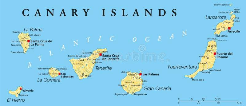 Canarie Cartina Geografica.Mappa Politica Delle Isole Canarie Illustrazione Vettoriale