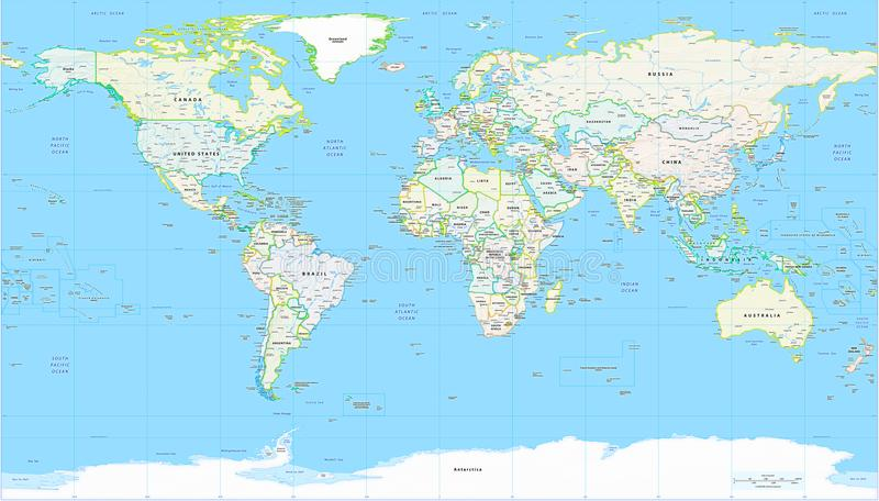 Mappa politica dettagliata della mappa di mondo illustrazione di stock