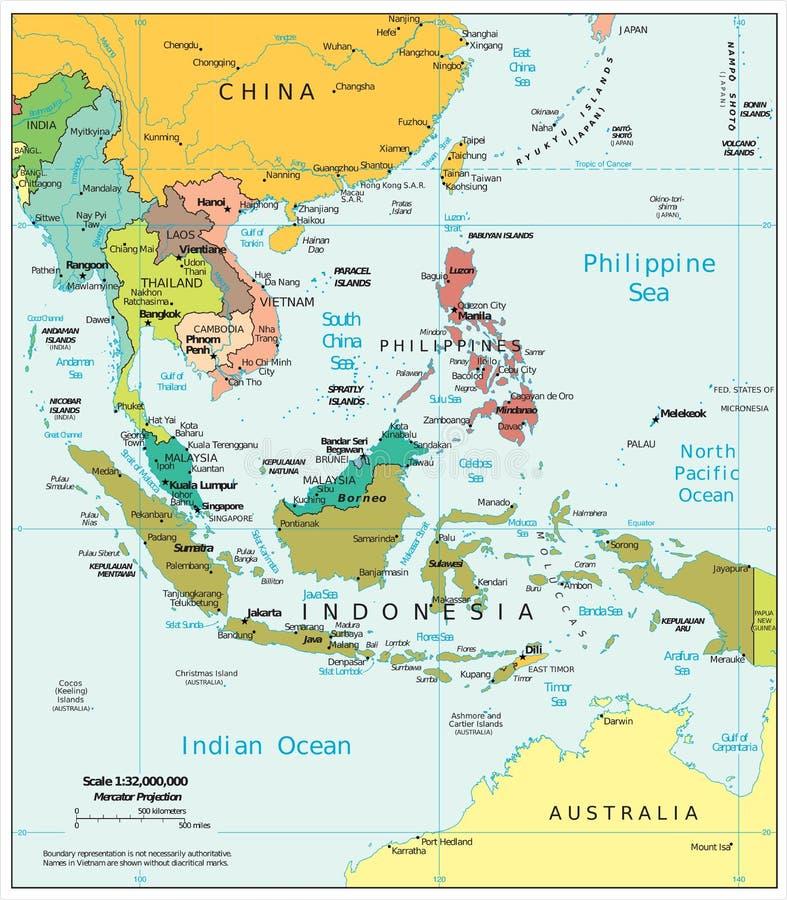 Mappa politica di divisioni di regione di sud est asiatico for Interno delle piantagioni del sud