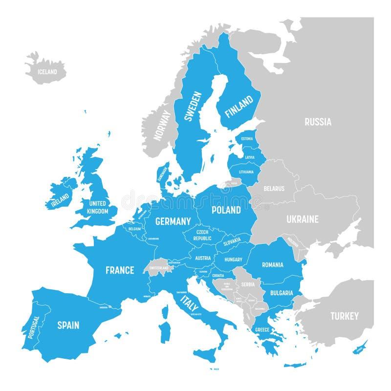 Mappa politica di Europa con 28 Unione Europea evidenziata blu, UE, stati membri Illustrazione piana semplice di vettore royalty illustrazione gratis