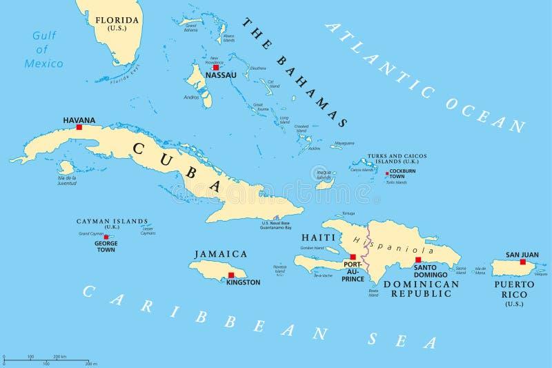 Mappa politica di Grandi Antille illustrazione di stock