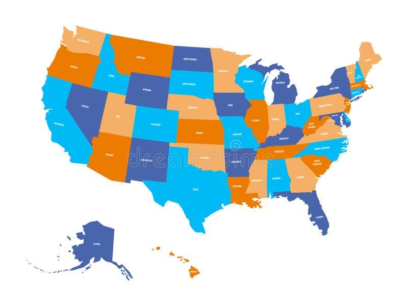 Mappa politica di U.S.A., Stati Uniti d'America Variopinto con lo stato bianco nomina le etichette su fondo bianco Vettore royalty illustrazione gratis