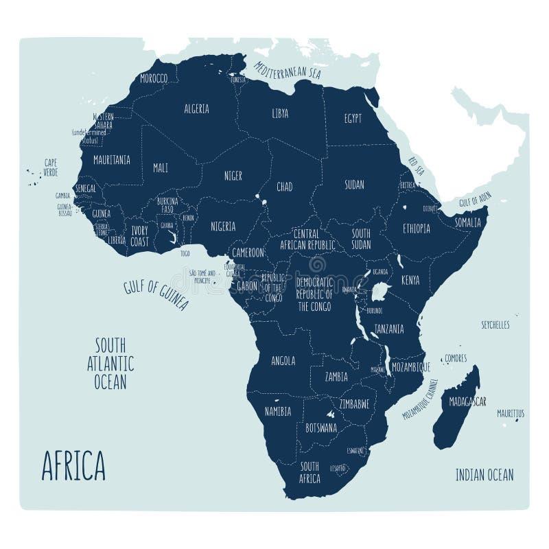Mappa politica disegnata a mano dell'Africa illustrazione di stock