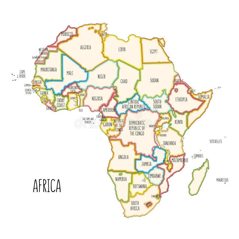 Mappa politica disegnata a mano variopinta dell'Africa illustrazione vettoriale
