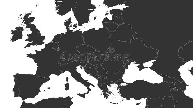 Mappa politica grigia in bianco di Europa e della regione caucasica Illustrazione piana semplice di vettore royalty illustrazione gratis