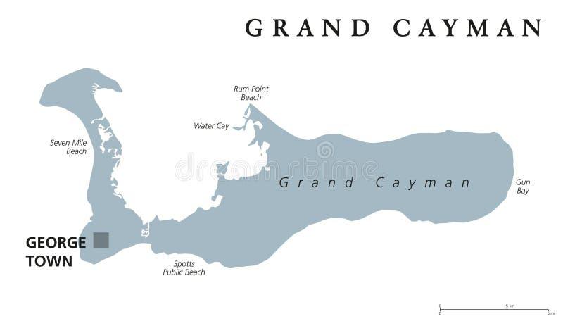Mappa politica grigia di Grand Cayman royalty illustrazione gratis