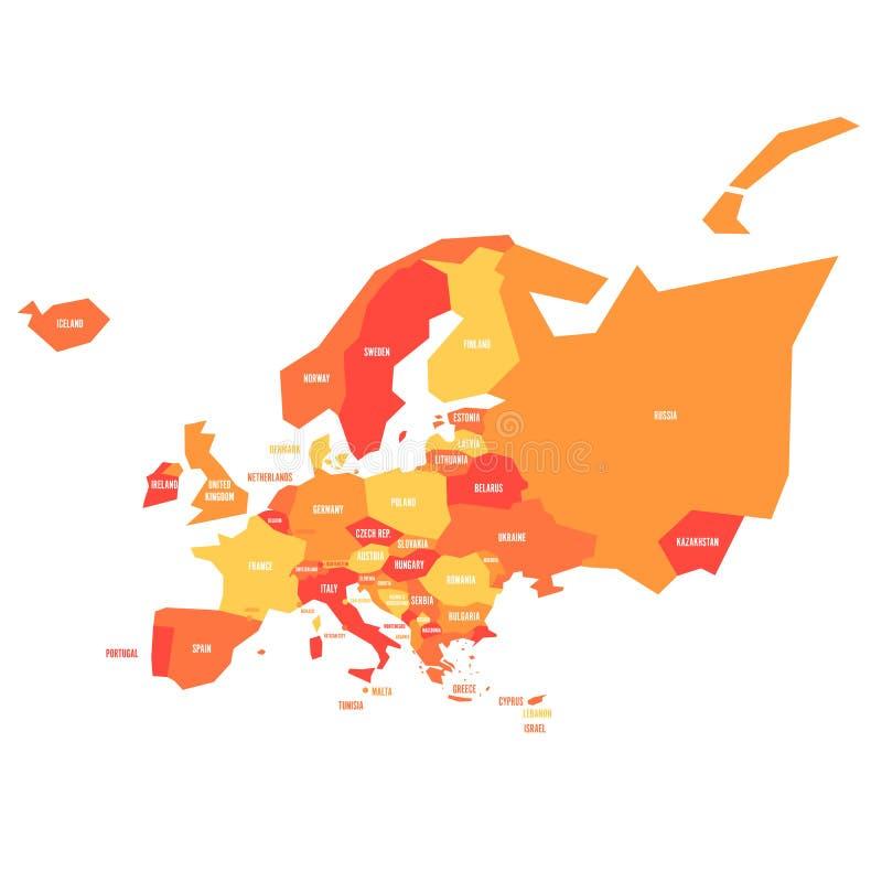 Mappa politica infographical molto semplificata di Europa nelle combinazioni colori arancio Illustrazione geometrica semplice di  illustrazione vettoriale