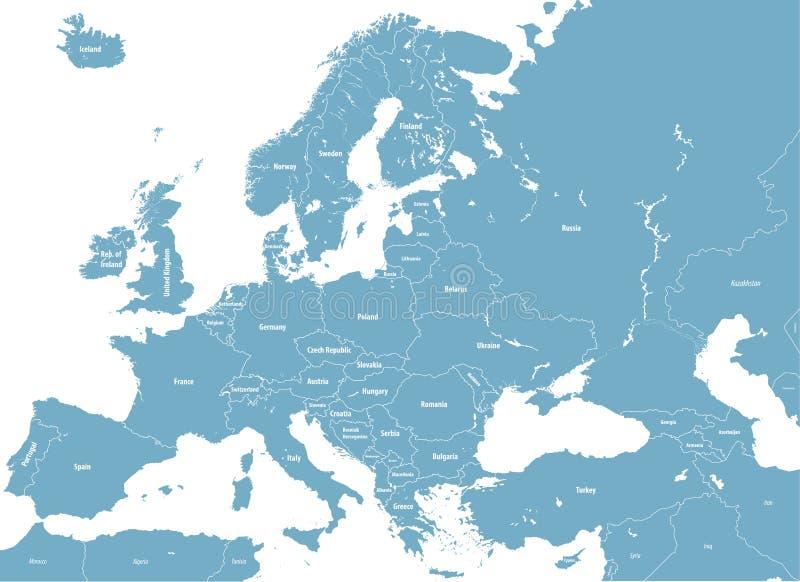 Mappa politica su dettagliata di Europa Tutti gli elementi staccabili ed identificati Vettore illustrazione di stock