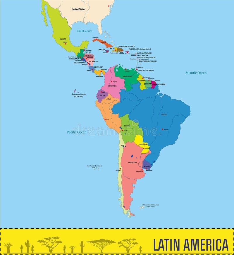 Cartina Mondo Politica Con Capitali.Mappa Politica Vettoriale Dell America Latina Illustrazione Vettoriale Illustrazione Di Estratto Guiana 160129214