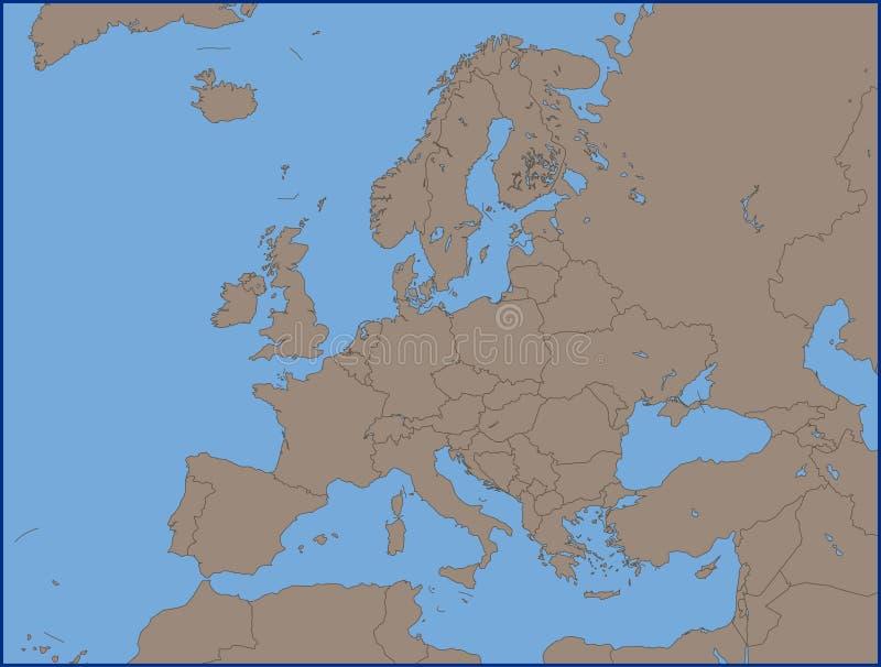 Mappa politica vuota di Europa illustrazione vettoriale