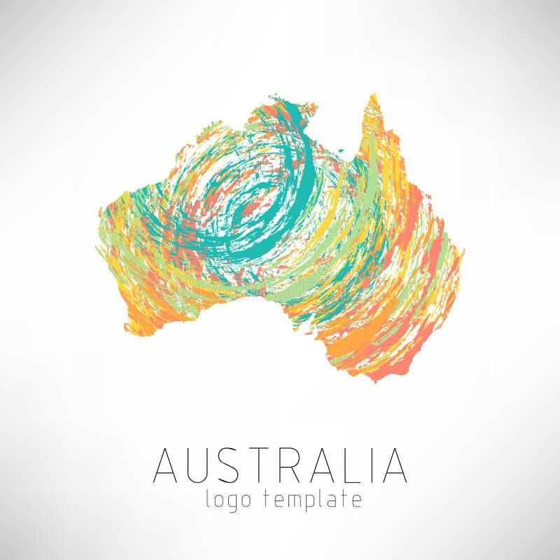 Mappa progettata creativa della siluetta dell'Australia immagini stock