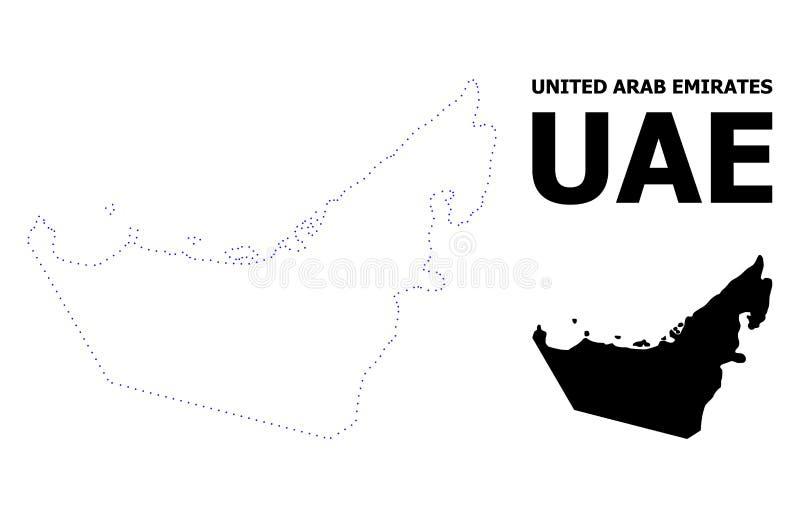 Mappa punteggiata contorno di vettore degli Emirati Arabi Uniti con il titolo illustrazione vettoriale