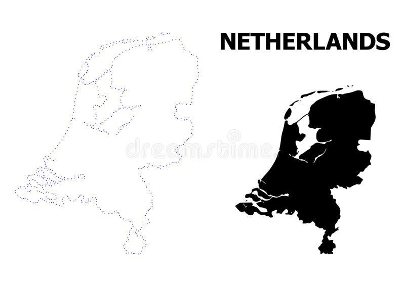 Mappa punteggiata contorno di vettore dei Paesi Bassi con il titolo illustrazione di stock