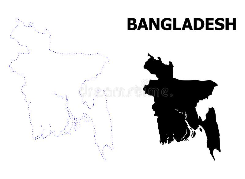Mappa punteggiata contorno di vettore del Bangladesh con il titolo illustrazione vettoriale